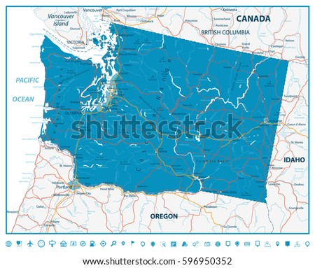 Washington State Road Map Rivers Lakes Stock Vector Royalty Free