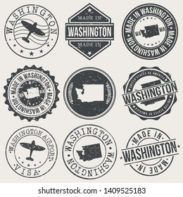 Washington State Set of Stamps. Travel Stamp. Made In Product. Design Seals Old Style Insignia.