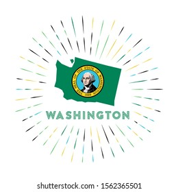 Washington sunburst badge. The us state sign with map of Washington with state flag. Colorful rays around the logo. Vector illustration.