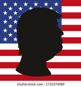 Washington, United States of America, year 2020: Donald Trump silhouette portrait on the US flag, vector illustration