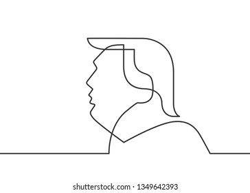 Washington, USA, 09 NOV, 2016: New 45th President of United States was elected. Continuous line drawing of Donald Trump. Donald Trump silhouette. Vector illustration.