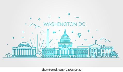 Washington USA skyline and landmarks silhouette