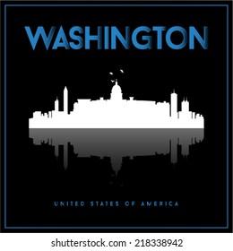 Washington, USA skyline silhouette vector design on black background.
