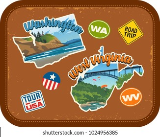 Washington, West Virginia travel stickers with scenic attractions and retro text on vintage suitcase background
