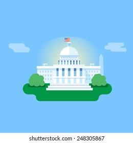 Washington, white house vector flat illustration