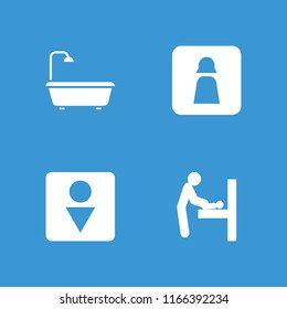 Washroom icon. collection of 4 washroom filled icons such as baby changing room, man wc, shower. editable washroom icons for web and mobile.
