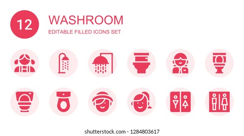 washroom icon set. Collection of 12 filled washroom icons included Girl, Shower, Toilet, Woman, Restroom