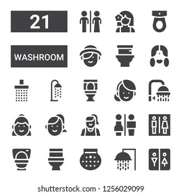 washroom icon set. Collection of 21 filled washroom icons included Restroom, Shower, Toilet, Restrooms, Woman, Girl