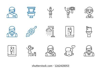 washroom icons set. Collection of washroom with woman, girl, toilet, shower, gender. Editable and scalable washroom icons.