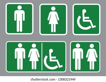 Washroom sign - restroom symbol,Male Washroom symbol and Male Washroom symbol,Green background Washroom sign collection