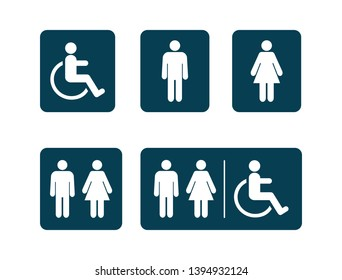 Washroom symbols collection. Male washroom sign. Female washroom sign. Vector illustration