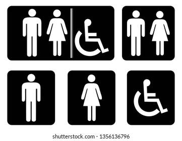 Washroom symbols collection.Male washroom sign.Female washroom sign