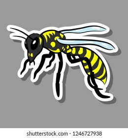 Wasp. Doodle vector sticker drawing