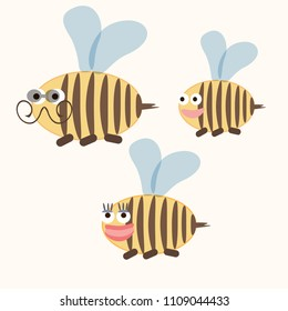 Wasp family. Insects. Doodle style. Cartoon.  Bees.