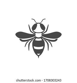 Wasp flat line icon. Black silhouette of an insect Isolated on a white background. Graphic symbol, design template for logo. Vector illustration of a bee, hornet, pest, sting, honey.