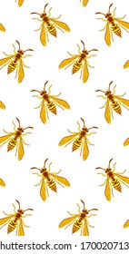 Wasp insect vertical seamless wallpaper. Dangerous yellow bugs cover on white backdrop. Vector Bumblebee drawing mobile banner. Wild Nature graphic print.