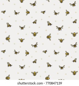 wasp insects cartoon doodle seamless pattern