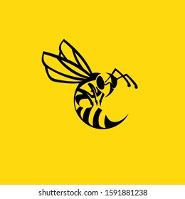 Wasp logo  with yellow background