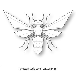 Wasp. Low polygon linear vector illustration