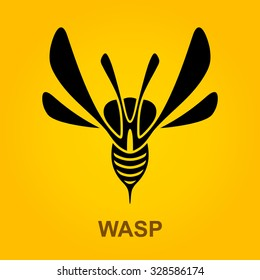 Wasp Predator Insect logotype design template, Stylized business logo idea, Vector Eps 10