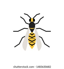 Wasp single flat icon. Hornet simple sign in cartoon style. Bee pictogram. Insect symbol Wildlife, Entomology closeup color vector illustration isolated on white. Graphic design element for card, logo