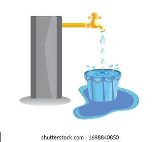 Wastage of water theme. Wastage of water from running tap as bucket is overflow with the water. Wastage of water drop from overflowing bucket and spreading on the floor.
