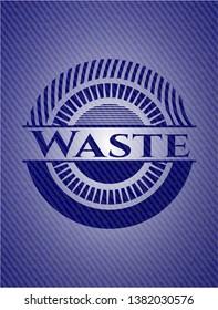 Waste badge with denim texture