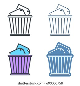 Waste basket outline icon set. Office supply line symbols. Trash and garbage bin linear pictograms. Vector thin contour infographic elements. Illustrations for web design, presentations, networks.