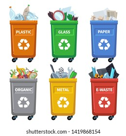Waste bin categories. Trash recycle, separating garbage containers. Organic paper plastic glass metal mixed waste vector separation chart