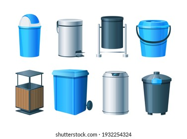 Waste bins, basket, trash can and dustbin set. Metal, wood and plastic garbage containers. Waste bins with lids, bucket with pedal, office baskets, urns, garbage bags, sorting containers vector