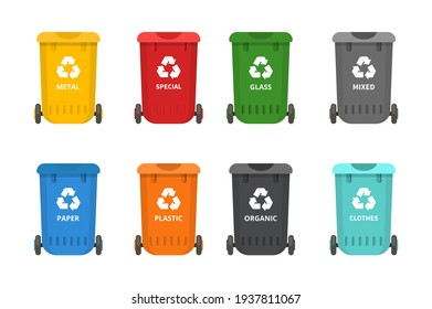 Waste bins for sorting and separating waste for organic, paper, plastic, glass, metal. Separation of garbage into different containers. Recycling sorting, waste collection vector