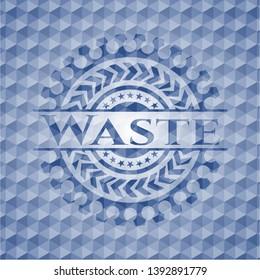 Waste blue polygonal badge. Vector Illustration. Detailed.