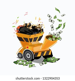 waste in chipper machine turning money. money from waste. recycle - vector illustration