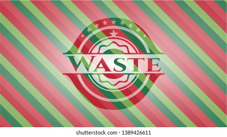 Waste christmas style emblem. Vector Illustration. Detailed.
