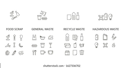 waste collection icon set. thin line design