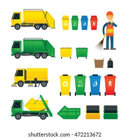 Waste Collection, Truck, Bin, Dumpster, Sweeper, Symbol Object Colorful Set