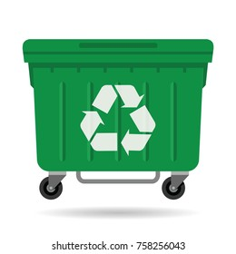 waste container green color with recycle symbol