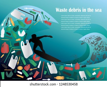 waste debris in the sea,poster template. Vector illustration with deep underwater ocean scene. Background with realistic clouds