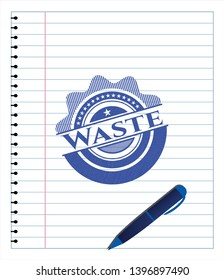 Waste drawn with pen strokes. Blue ink. Vector Illustration. Detailed.