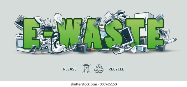 The waste electrical and electronic equipment creating pile around the green E-Waste sign. Computer and other obsolete used electronic waste stack on title. Waste management concept.