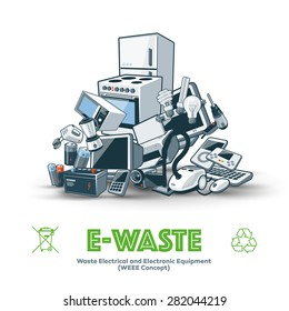 The waste electrical and electronic equipment pile. Computer and other obsolete electronic waste stack. Waste management concept.