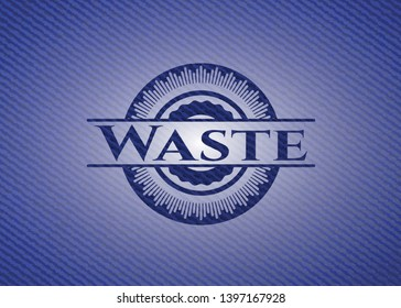 Waste emblem with jean high quality background. Vector Illustration. Detailed.