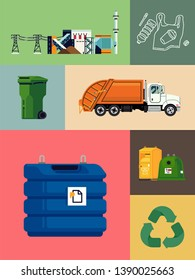 Waste energy, recycling and reducing set of illustrations. Ideal for environment awareness, ecology and eco friendly lifestyle graphic and motion design, social media content