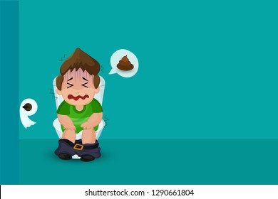 Waste excretion. Boy suffering from constipation on the toilet.
