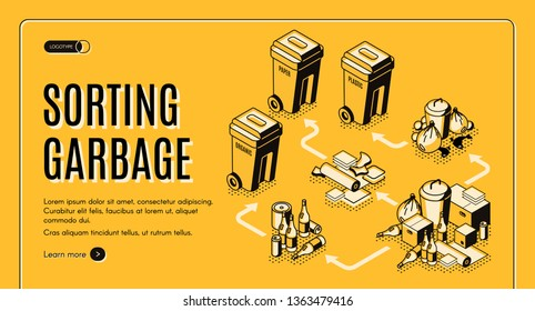 Waste and garbage sorting isometric vector web banner template with trash bins, containers for paper, plastic, glass and organic waste illustration. Junk recycling and environment pollution reduce