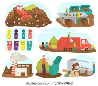 Waste garbage sorting and recycling set of vector illustration. Ecology, materials and factory. Waste management and recycle concept. Separation of waste into garbage bins. Colored garbage cans, bins.