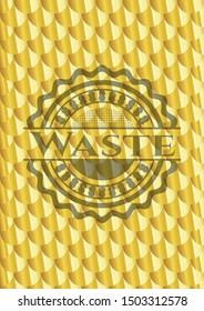 Waste gold emblem or badge. Scales pattern. Vector Illustration. Detailed.