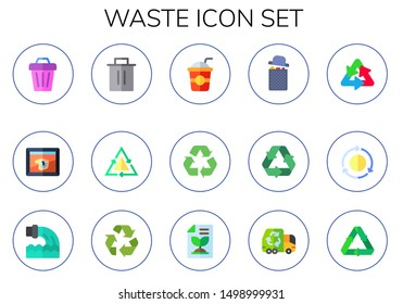 waste icon set. 15 flat waste icons.  Simple modern icons about  - trash, the persistence of memory, recycle, straw, garbage, recycling, reuse, recycle sign, recycled paper, garbage truck