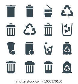 Waste icons. set of 16 editable filled waste icons such as trash bin, recycle, trash bag