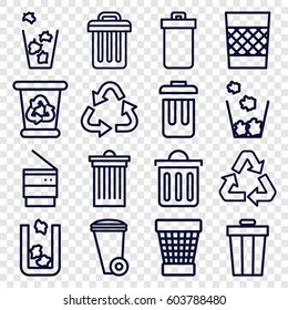 Waste icons set. set of 16 waste outline icons such as trash bin, recycle bin
